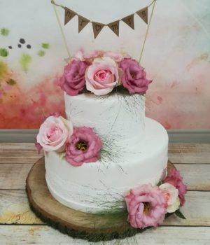 Bruidstaart Lisette wit met roze bloemen