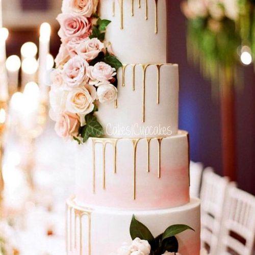 bruidstaart drip cake roze goud