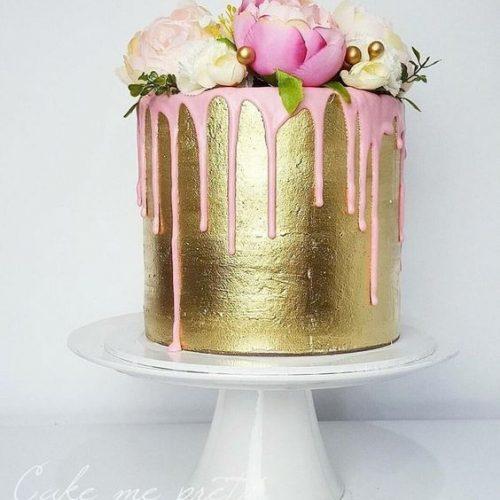 Bruidstaart drip cake metallic