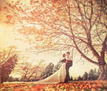herfstbruiloft bruidspaar boom