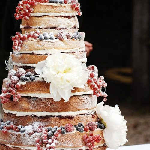bruidstaart naked cake bessen